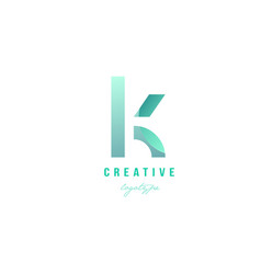 K green pastel gradient alphabet letter logo icon vector