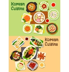 Korean and asian cuisine popular dishes icon set vector
