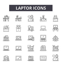 laptop line icons for web and mobile design vector image