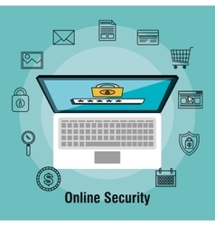 laptop shopping online security protection data vector image