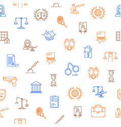 Law and lawyer thin line seamless pattern vector