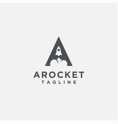 letter a rocket logo on white background vector image