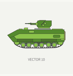 Line flat color icon infantry assault vector