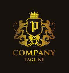 Luxury letter p logo vector