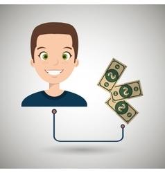 Man cartoon bag money dollar vector