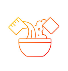 Mixing cooking ingredient gradient linear icon vector