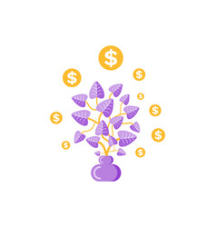 money plant in pot golden coins dollars vector image