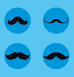 Moustaches set hipster style vector