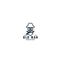 Old man head with cigar line logo design vector