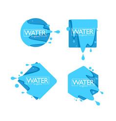 Organic natural spring water logo labels vector