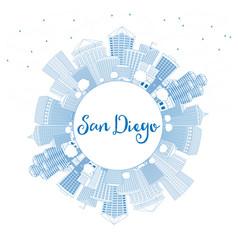 Outline san diego skyline with blue buildings vector