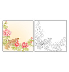 Peony tree branch with flowers with pheasants vector