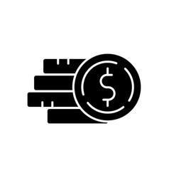 Pile money black glyph icon vector