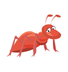 red ant cartoon on white vector image