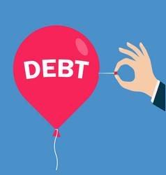 Red balloon with an inscription debt vector