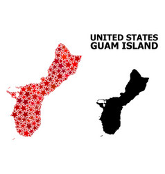 Red starred mosaic map guam island vector