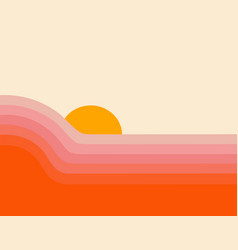 retro abstract sunset landscape 70s style mid vector image