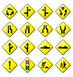 road sign glossy set glossy road sign vector image
