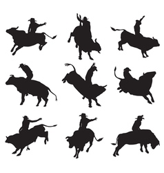 rodeo on bulls silhouette vector image