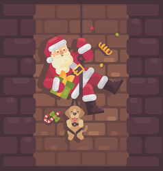 santa claus rappelling down the chimney with a vector image