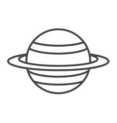 saturn planet icon outline style vector image