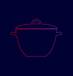 saucepan simple sign line icon with vector image