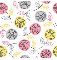 seamless pattern with colorful roses vector image