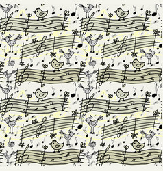 seamless pattern with musical notes and birdsong vector image