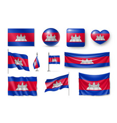 Set cambodia flags banners banners symbols vector