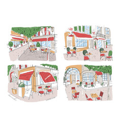 Set colorful freehand drawings sidewalk cafe vector