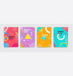 Set neo memphis style covers abstract shapes vector