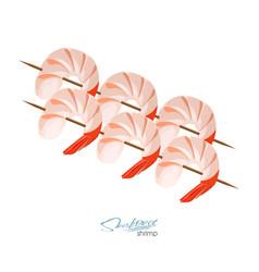 shrimps on a skewer in cartoon vector image