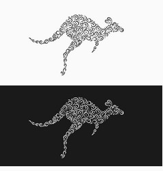 silhouette a jumping kangaroo from decorative vector image