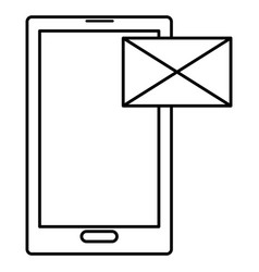 smartphone device with envelope mail vector image