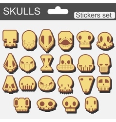 stickers skulls cartoon set vector image
