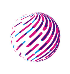 striped globe round abstract circle sign vector image