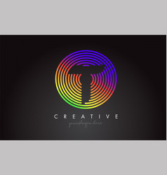 t letter logo design with colorful rainbow vector image