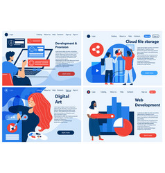 three ui landings or business templates vector image