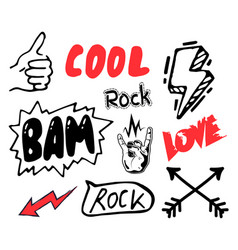 Thumb up cool rock bam love red arow black vector