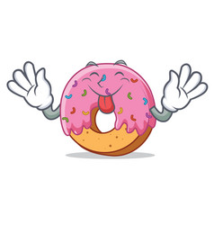 tongue out donut mascot cartoon style vector image