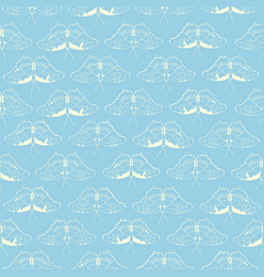 turquoise pattern with white butterfly vector image