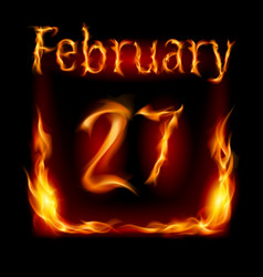 Twenty-seventh february in calendar of fire icon vector