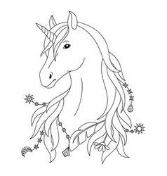 unicorn tattoo symbol vector image