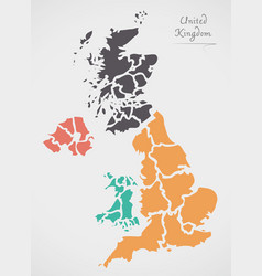 United kingdom map with states vector