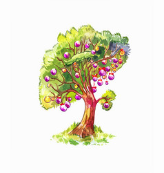 unusual new year tree outside the house isolated vector image