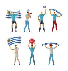 uruguay football fans cheerful soccer vector image
