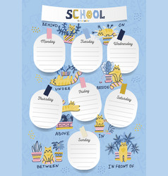 Vertical a4 schedule for kids in form board vector