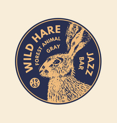 wild animals stickers in vintage style gray hare vector image