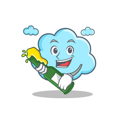 with beer cute cloud character cartoon vector image