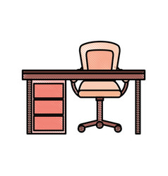 wooden desk and armchair furniture work elements vector image